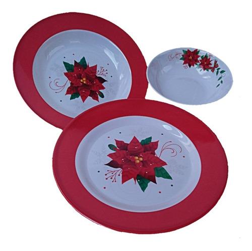 vajilla melamina 12 pzas rosa flores o navideña 4 personas