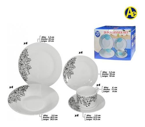 vajilla porcelona home life x20 piezas