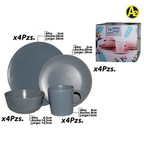 vajilla redonda ceramica x16 piezas (grey mate)