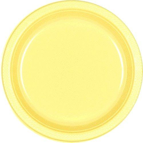 vajilla reutilizable platos redondos de cena amarillo claro