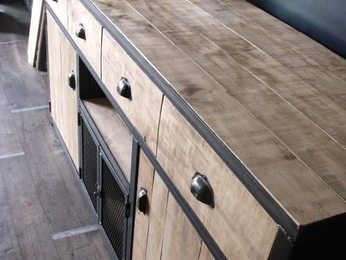 vajillero industrial rack madera y hierro antartida 8 miralo
