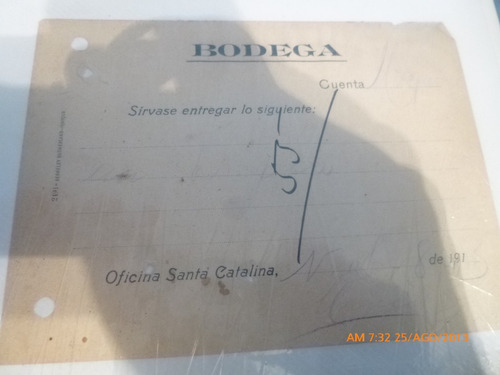 vale de bodega oficina salitrera catalina (r430