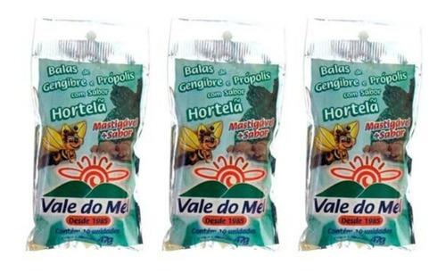 vale do mel bala gengibre / própolis /hortelã 47g (kit c/03)