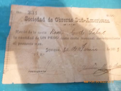 vale recibo 1 pesos sociedad obrera sud americana 1913 (a14