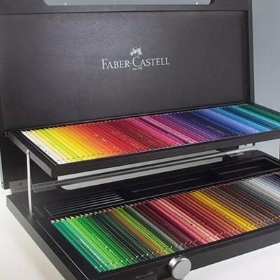 valija de madera lapices acuarelables faber castell x 120