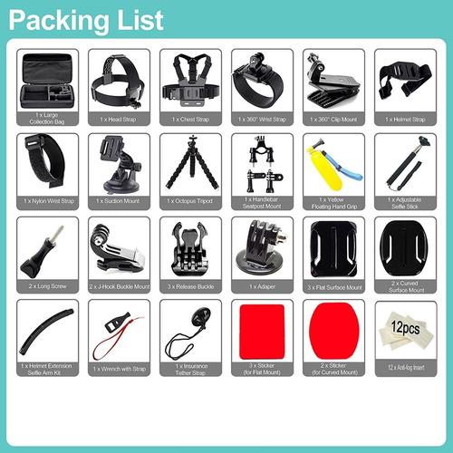 valija kit 50 accesorios gopro sjcam go pro 4 5 6 7 completo + maletin impermeable