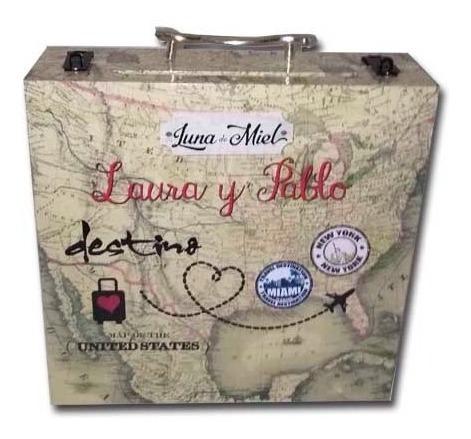 valija maletín luna  miel ,boda ,urna, buzón grande cartel