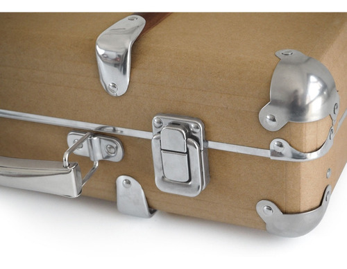 valija vintage cartón madera metal kraft suitcase small gato
