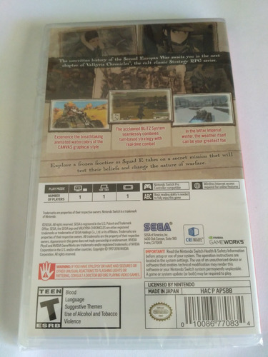 valkyria chronicles 4 nintendo switch nuevo sellado