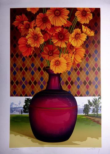 valmy rocha morais - vaso de flores - sofisticada serigrafia