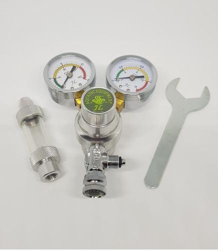 valvula de co2 doble medición presión carga cuenta burbujas