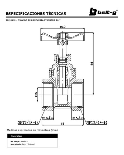 valvula de compuerta std 3/4 ...belt-g gri-0142
