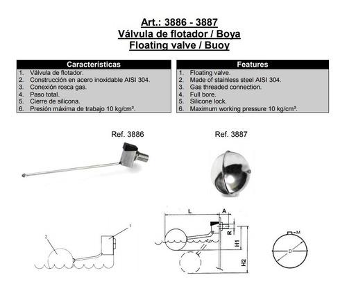 válvula de flotador boya genebre inox. art.3886 + 3887 1/2