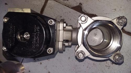 valvula esfera acero inoxidable  con actuador neumatico 2
