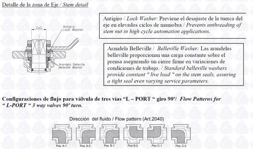 válvula esférica 3 vías en l genebre inox. ø3/4 art. 2040
