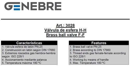 válvula esférica genebre latón ø1 1/2 art. 3028