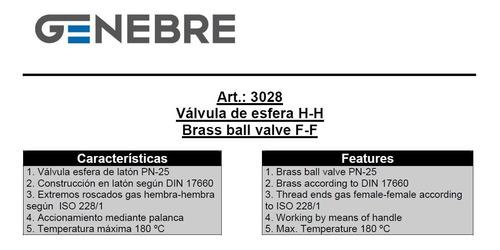 válvula esférica genebre latón ø3/8 art. 3028