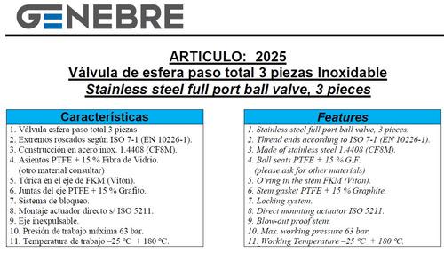 válvula esférica tricuerpo genebre inox. ø1 art. 2025