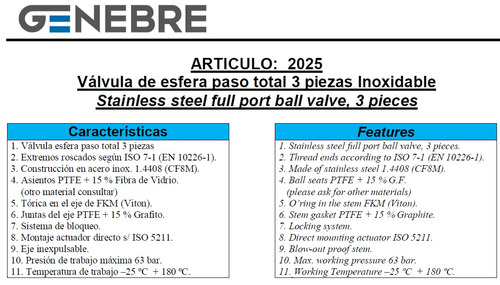 válvula esférica tricuerpo genebre inox. ø3/8 art. 2025