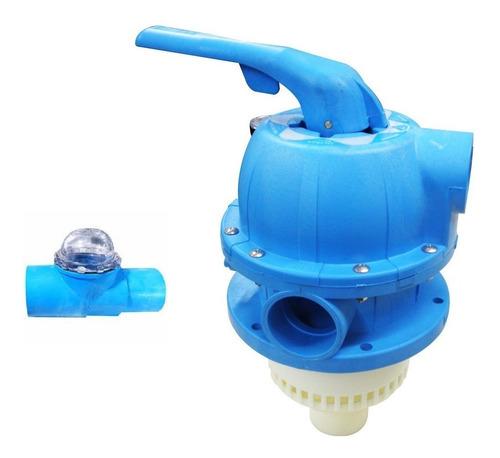válvula multivias sodramar azul p/ filtros