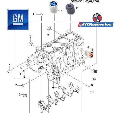 valvula paso flujo aceite del motor cruze 1.8 (kit de 3)