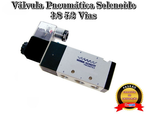 válvula pneumática solenoide 3/8 5/2 vias - romak