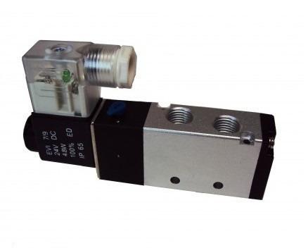 válvula pneumática solenoide 5/2 vias retorno mola 1/4 24vcc