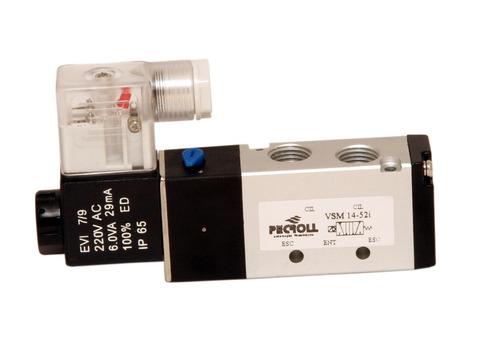 válvula solenoide/mola 5/2 vias rosca 1/4, pneumática 220vca