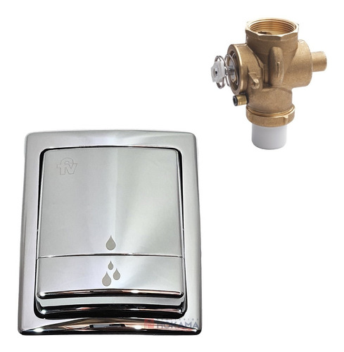 valvula tapa tecla fv descarga embutida cromada doble baño