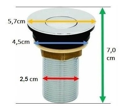 válvula/ralo click up, clic, p/ pia lavatório cuba 2,5cm 7/8