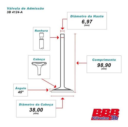 válvulas de admissão chery tiggo 2.0 16v 09/15 motor sqr484f