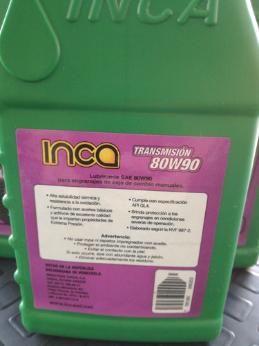 valvulina 80w90 inca para caja sincronica *consultar precio*