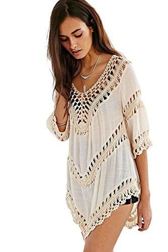 vanbuy - blusa para mujer, cuello en v, cuello de ganchillo