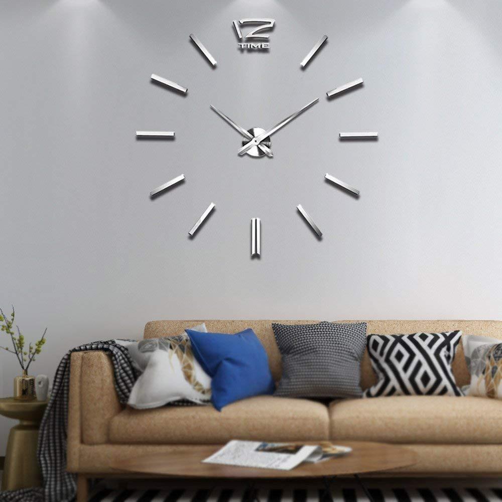 af9ec15b34c3 vangold reloj de pared grande moderno 3d decoración plateado. Cargando zoom.