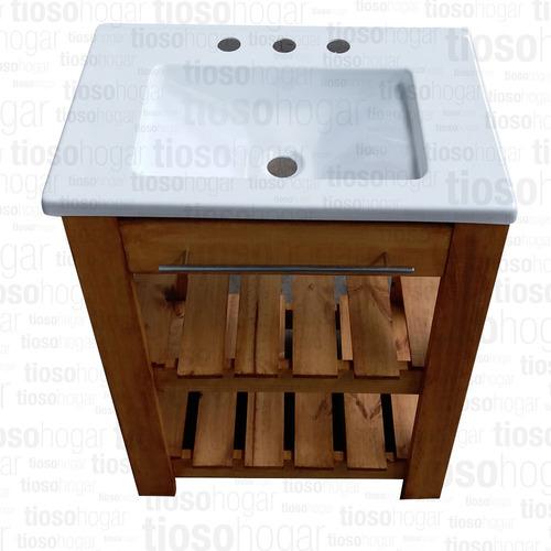 vanitory 0.60 60cm mesada recta 2 deck porta toalla barral