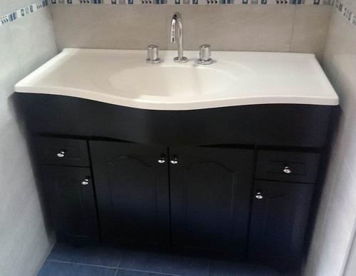 vanitory 100 cm mueble de baño madera laqueada wengue  bacha
