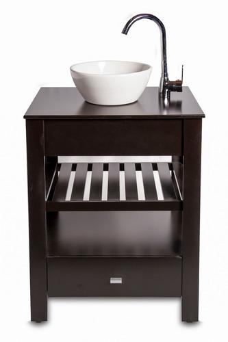vanitory 100% laqueado marron oscuro 60cm (mueble solo)