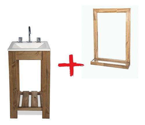 vanitory 40cm bacha espejo repisa y griferia baño combo!!