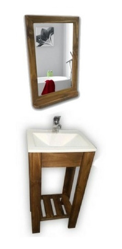 vanitory 40cm bacha marmolina y espejo repisa baño combo