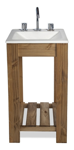 vanitory 40cm madera maciza y bacha maral  blanca combo!!!