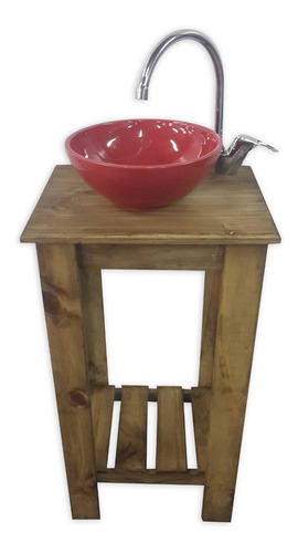 vanitory 40cm para baño (mueble solo) madera maciza cetol