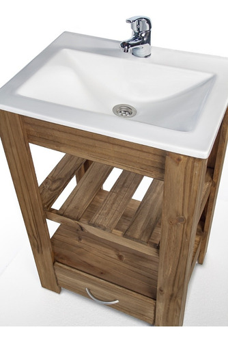 vanitory 50cm madera maciza cajon y bacha maral blanca combo