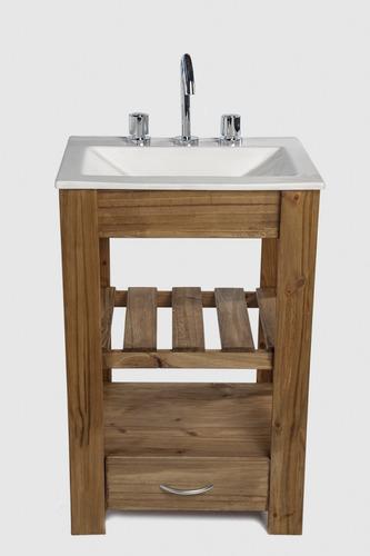 vanitory 50cm madera maciza cajon y bacha maral combo cuotas