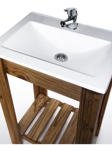 vanitory 50cm madera maciza y bacha maral blanca combo set