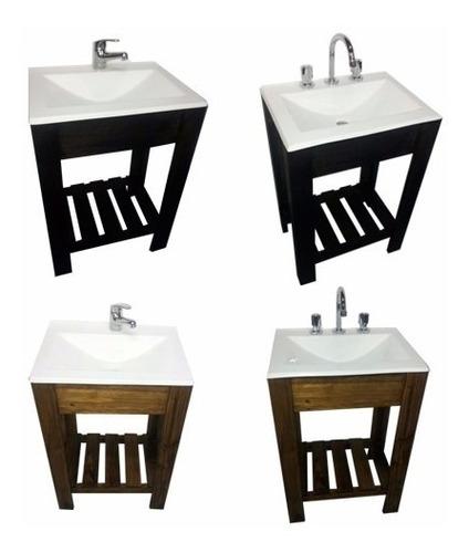 vanitory 55cm madera maciza y bacha blanca ceramica baño