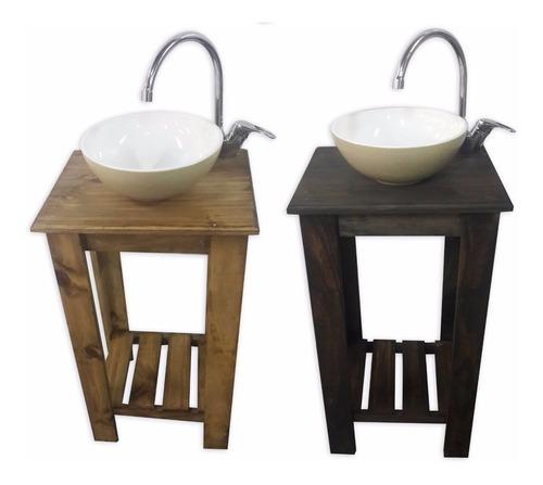 vanitory 55cm madera y bacha blanca cuadrada ceramica baño!
