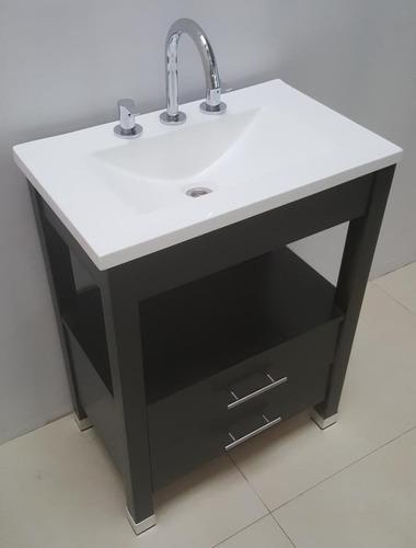 vanitory 62cm wengue 2 cajones y bacha de marmol sintetico