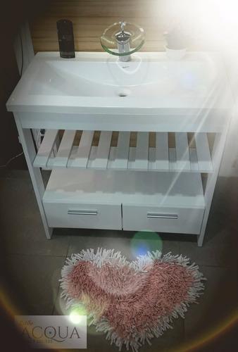 vanitory 80 cm laqueao blanco - wengue +mesada marmolina