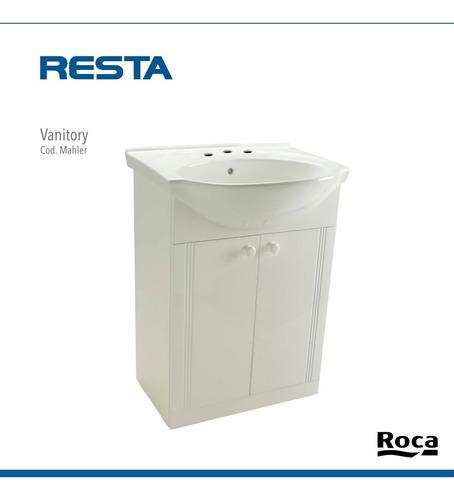 vanitory bacha roca mahler de 50cm mueble blanco de 1 o 3 ag