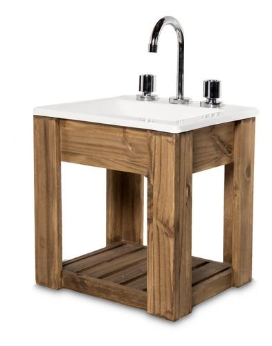 vanitory colgante 40cm madera maciza y bacha maral  blanca